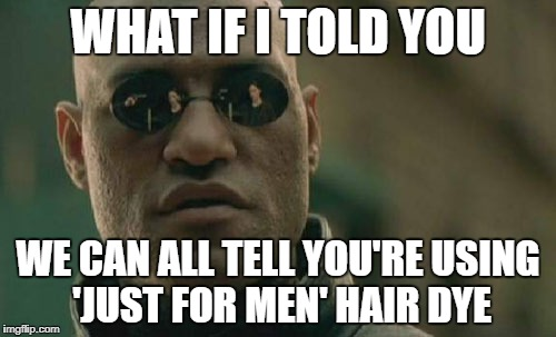 Matrix Morpheus Meme | WHAT IF I TOLD YOU WE CAN ALL TELL YOU'RE USING 'JUST FOR MEN' HAIR DYE | image tagged in memes,matrix morpheus | made w/ Imgflip meme maker