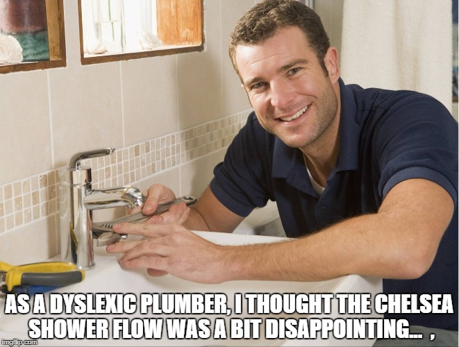 AS A DYSLEXIC PLUMBER, I THOUGHT THE CHELSEA SHOWER FLOW WAS A BIT DISAPPOINTING...  , | image tagged in plumber | made w/ Imgflip meme maker