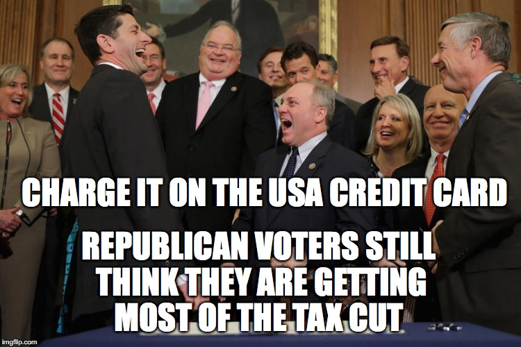 Suckers are Born Every Minute | CHARGE IT ON THE USA CREDIT CARD REPUBLICAN VOTERS STILL THINK THEY ARE GETTING MOST OF THE TAX CUT | image tagged in republicans | made w/ Imgflip meme maker
