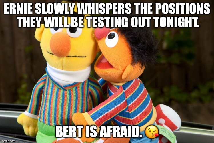 Help me please.  Bert~ | ERNIE SLOWLY WHISPERS THE POSITIONS THEY WILL BE TESTING OUT TONIGHT. BERT IS AFRAID.  | image tagged in sesame street whisper | made w/ Imgflip meme maker