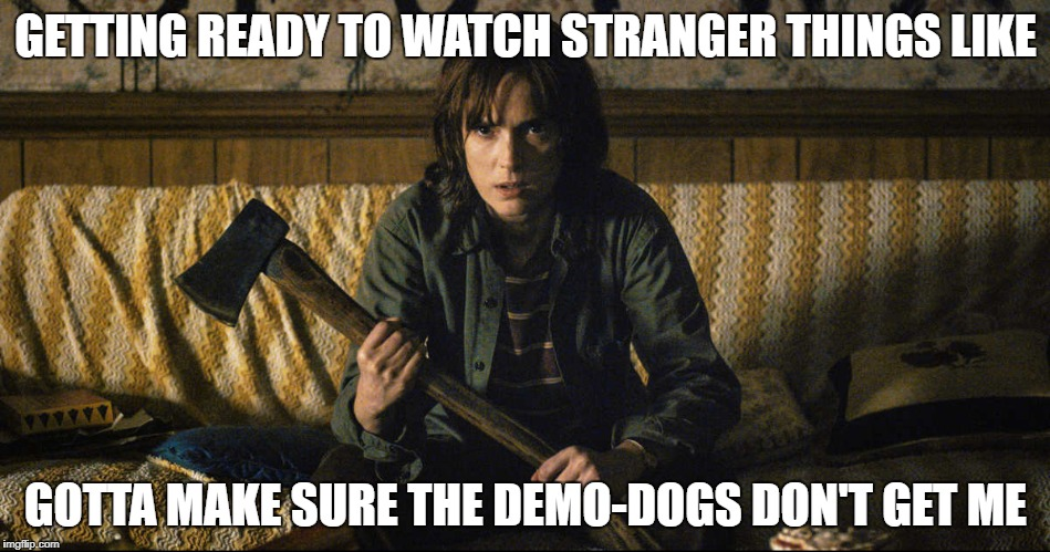GETTING READY TO WATCH STRANGER THINGS LIKE GOTTA MAKE SURE THE DEMO-DOGS DON'T GET ME | image tagged in stranger things | made w/ Imgflip meme maker