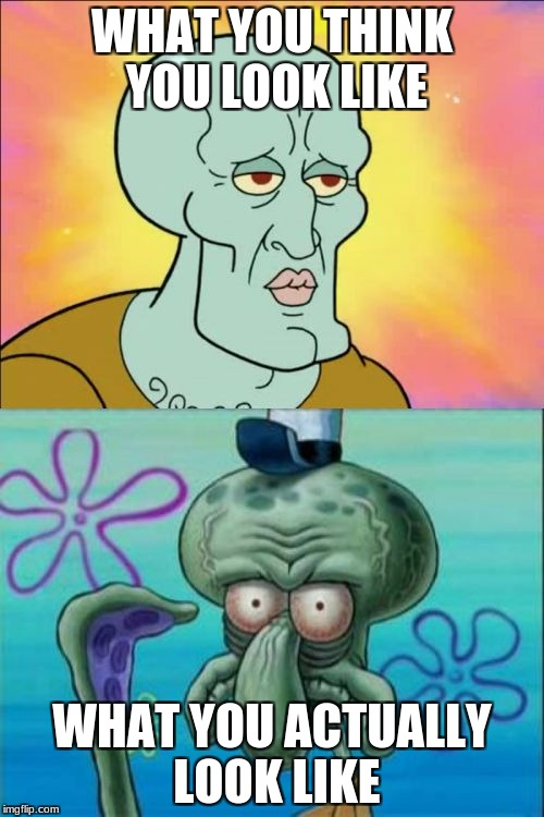 Squidward Meme | WHAT YOU THINK YOU LOOK LIKE WHAT YOU ACTUALLY LOOK LIKE | image tagged in memes,squidward | made w/ Imgflip meme maker