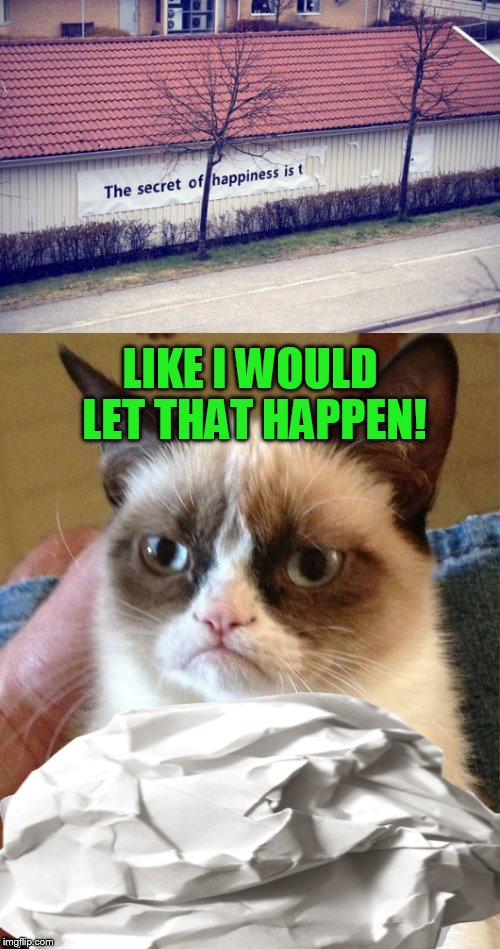 The secret to Grumpy's happiness is... to make sure no one is happy! | LIKE I WOULD LET THAT HAPPEN! | image tagged in memes,grumpy cat,the secret of happiness is,dashhopes,paper,sign | made w/ Imgflip meme maker