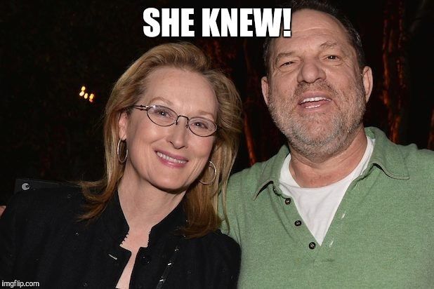 SHE KNEW! | image tagged in meryl streep with harvey weinstein | made w/ Imgflip meme maker