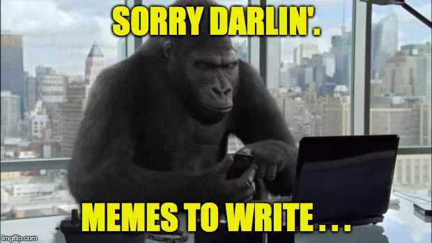 SORRY DARLIN'. MEMES TO WRITE . . . | made w/ Imgflip meme maker