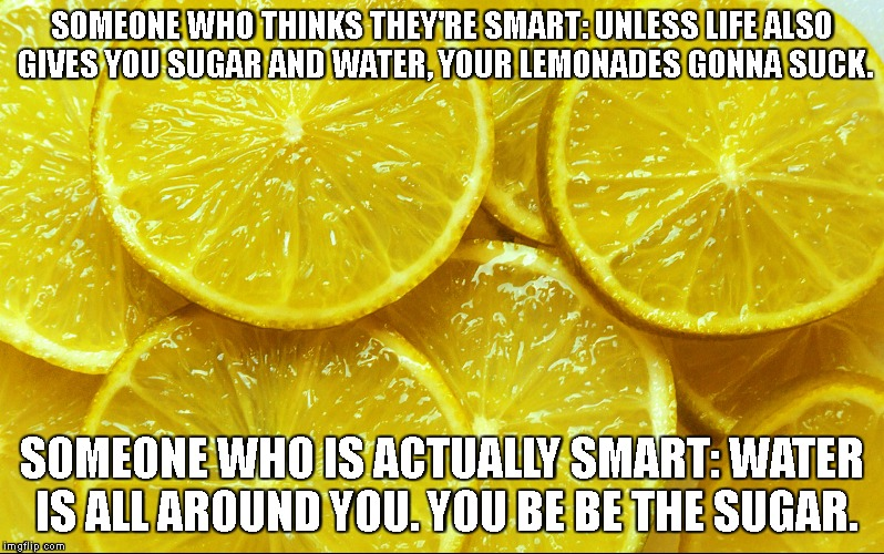 SOMEONE WHO THINKS THEY'RE SMART:UNLESS LIFE ALSO GIVES YOU SUGAR AND WATER, YOUR LEMONADES GONNA SUCK. SOMEONE WHO IS ACTUALLY SMART:WATE | image tagged in lemons,smartass | made w/ Imgflip meme maker