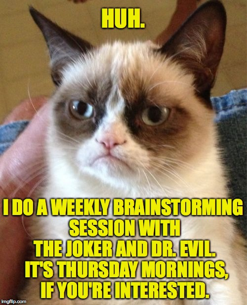 Grumpy Cat Meme | HUH. I DO A WEEKLY BRAINSTORMING SESSION WITH THE JOKER AND DR. EVIL.  IT'S THURSDAY MORNINGS, IF YOU'RE INTERESTED. | image tagged in memes,grumpy cat | made w/ Imgflip meme maker