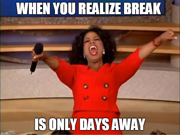 Oprah You Get A Meme | WHEN YOU REALIZE BREAK IS ONLY DAYS AWAY | image tagged in memes,oprah you get a | made w/ Imgflip meme maker