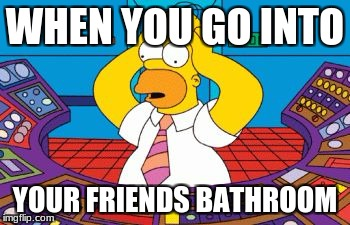 bathroom at friends house | WHEN YOU GO INTO YOUR FRIENDS BATHROOM | image tagged in homer simpson plant buttons,bathroom | made w/ Imgflip meme maker
