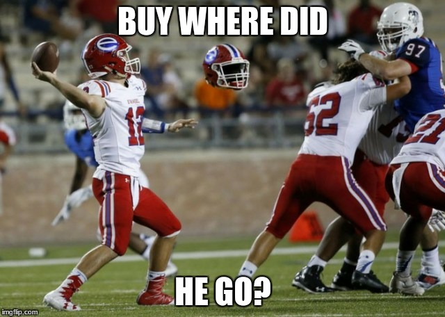 Missing | BUY WHERE DID HE GO? | image tagged in funny,football,invisible | made w/ Imgflip meme maker