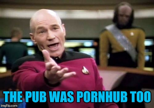 Picard Wtf Meme | THE PUB WAS PORNHUB TOO | image tagged in memes,picard wtf | made w/ Imgflip meme maker