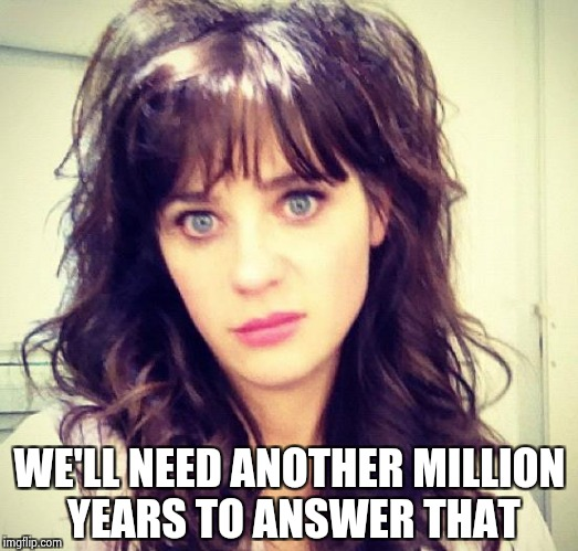Zooey Deschanel | WE'LL NEED ANOTHER MILLION YEARS TO ANSWER THAT | image tagged in zooey deschanel | made w/ Imgflip meme maker