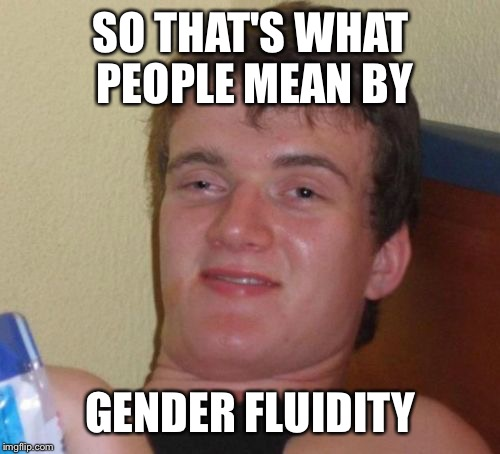 10 Guy Meme | SO THAT'S WHAT PEOPLE MEAN BY GENDER FLUIDITY | image tagged in memes,10 guy | made w/ Imgflip meme maker