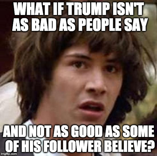 No one is perfect. | WHAT IF TRUMP ISN'T AS BAD AS PEOPLE SAY AND NOT AS GOOD AS SOME OF HIS FOLLOWER BELIEVE? | image tagged in memes,conspiracy keanu,donald trump,hillary clinton,tax plan | made w/ Imgflip meme maker