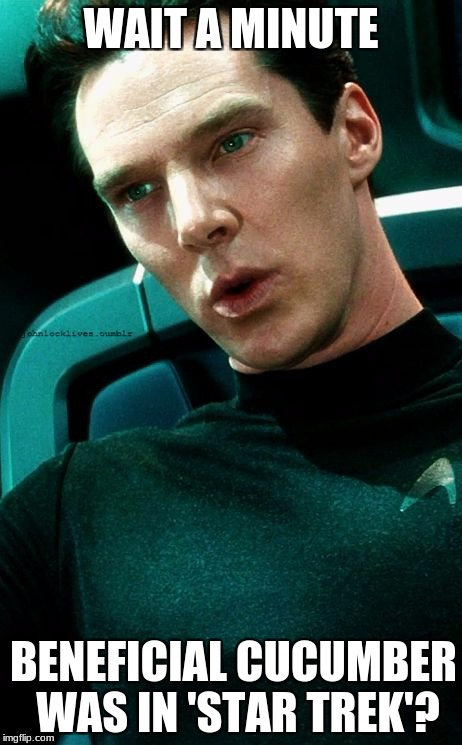 WAIT A MINUTE BENEFICIAL CUCUMBER WAS IN 'STAR TREK'? | image tagged in benedict cumberbatch khan confused | made w/ Imgflip meme maker