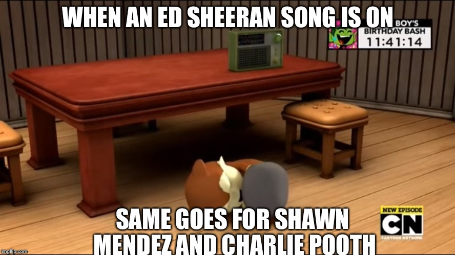 Sonic Boom - Can't Handle the Radio | WHEN AN ED SHEERAN SONG IS ON SAME GOES FOR SHAWN MENDEZ AND CHARLIE POOTH | image tagged in sonic boom - can't handle the radio | made w/ Imgflip meme maker