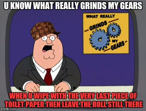 Peter Griffin News Meme | U KNOW WHAT REALLY GRINDS MY GEARS WHEN U WIPE WITH THE VERY LAST PIECE OF TOILET PAPER THEN LEAVE THE ROLL STILL THERE | image tagged in memes,peter griffin news,scumbag | made w/ Imgflip meme maker