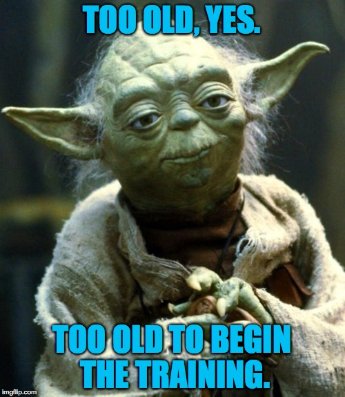 Star Wars Yoda Meme | TOO OLD, YES. TOO OLD TO BEGIN THE TRAINING. | image tagged in memes,star wars yoda | made w/ Imgflip meme maker