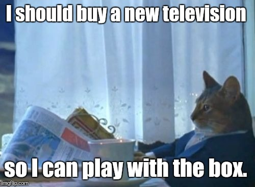 I should buy a new television so I can play with the box. | made w/ Imgflip meme maker