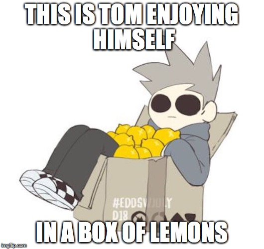 Tom With Lemons | THIS IS TOM ENJOYING HIMSELF IN A BOX OF LEMONS | image tagged in tom,eddsworld,memes,lemons | made w/ Imgflip meme maker