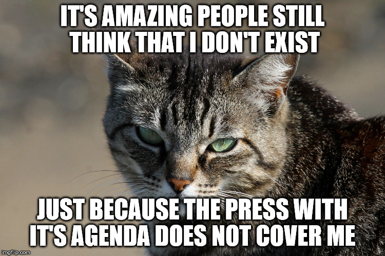 Schrödinger's Press Coverage | IT'S AMAZING PEOPLE STILL THINK THAT I DON'T EXIST JUST BECAUSE THE PRESS WITH IT'S AGENDA DOES NOT COVER ME | image tagged in biased media,media lies,lying media | made w/ Imgflip meme maker