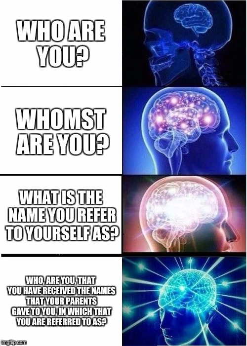 Expanding Brain Meme | WHO ARE YOU? WHOMST ARE YOU? WHAT IS THE NAME YOU REFER TO YOURSELF AS? WHO, ARE YOU, THAT YOU HAVE RECEIVED THE NAMES THAT YOUR PARENTS GAV | image tagged in memes,expanding brain | made w/ Imgflip meme maker