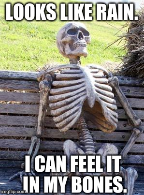 My arthritis is acting up. | LOOKS LIKE RAIN. I CAN FEEL IT IN MY BONES. | image tagged in memes,waiting skeleton | made w/ Imgflip meme maker