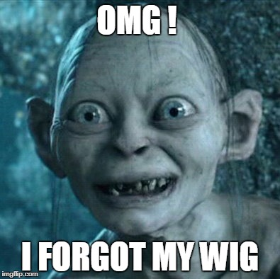 Gollum Meme | OMG ! I FORGOT MY WIG | image tagged in memes,gollum | made w/ Imgflip meme maker