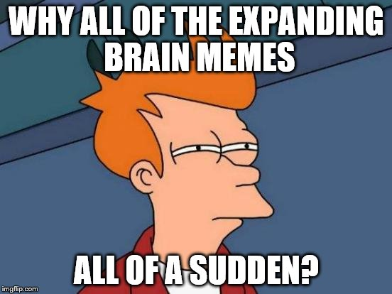 Futurama Fry Meme | WHY ALL OF THE EXPANDING BRAIN MEMES ALL OF A SUDDEN? | image tagged in memes,futurama fry | made w/ Imgflip meme maker