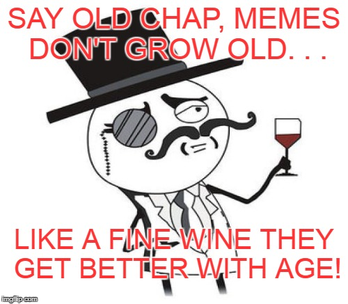 Only for the meme connoisseur  | SAY OLD CHAP, MEMES DON'T GROW OLD. . . LIKE A FINE WINE THEY GET BETTER WITH AGE! | image tagged in monocle guy,rage comics,connoisseur,memes,wine,old memes | made w/ Imgflip meme maker
