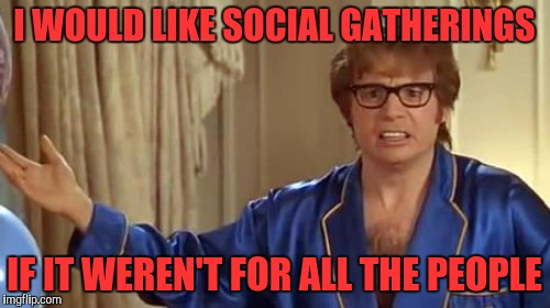 I WOULD LIKE SOCIAL GATHERINGS IF IT WEREN'T FOR ALL THE PEOPLE | made w/ Imgflip meme maker