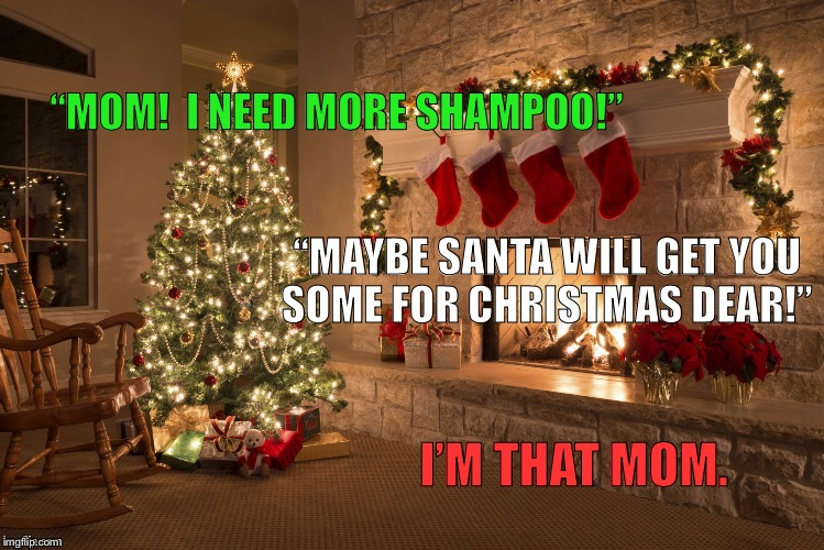 "Merry Christmas | ""MOM!  I NEED MORE SHAMPOO!"" ""MAYBE SANTA WILL GET YOU SOME FOR CHRISTMAS DEAR!"" I'M THAT MOM. 