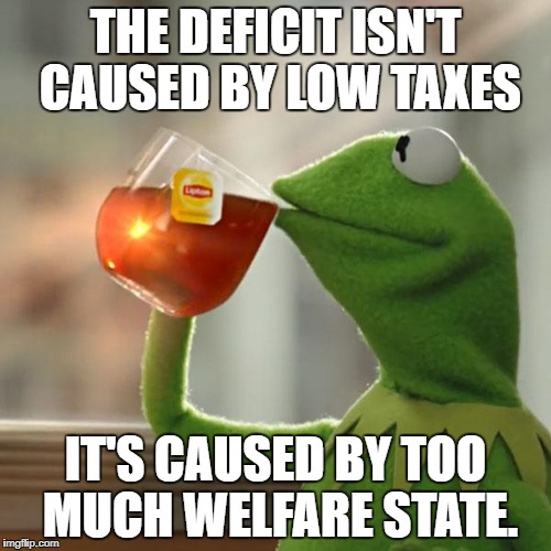 But Thats None Of My Business Meme | THE DEFICIT ISN'T CAUSED BY LOW TAXES IT'S CAUSED BY TOO MUCH WELFARE STATE. | image tagged in memes,but thats none of my business,kermit the frog | made w/ Imgflip meme maker