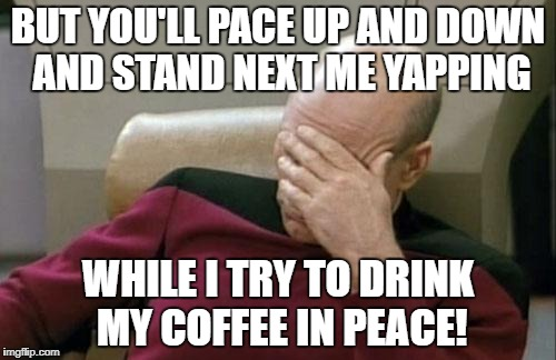 Captain Picard Facepalm Meme | BUT YOU'LL PACE UP AND DOWN AND STAND NEXT ME YAPPING WHILE I TRY TO DRINK MY COFFEE IN PEACE! | image tagged in memes,captain picard facepalm | made w/ Imgflip meme maker