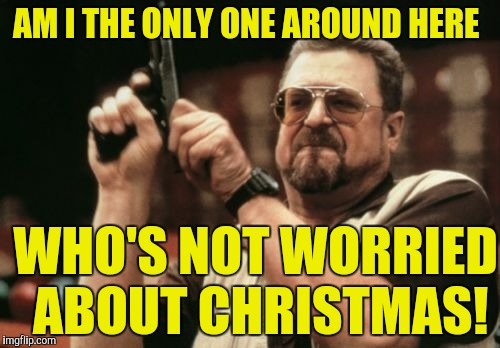 Am I The Only One Around Here Meme | AM I THE ONLY ONE AROUND HERE WHO'S NOT WORRIED ABOUT CHRISTMAS! | image tagged in memes,am i the only one around here | made w/ Imgflip meme maker