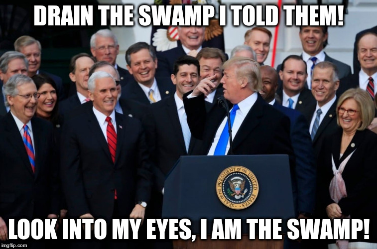 Tax breaks for corporations and rich people! | DRAIN THE SWAMP I TOLD THEM! LOOK INTO MY EYES, I AM THE SWAMP! | image tagged in trump,humor,taxes,republicans,drain the swamp | made w/ Imgflip meme maker