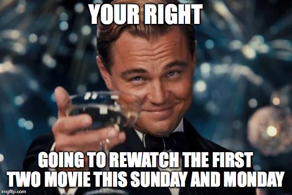 Leonardo Dicaprio Cheers Meme | YOUR RIGHT GOING TO REWATCH THE FIRST TWO MOVIE THIS SUNDAY AND MONDAY | image tagged in memes,leonardo dicaprio cheers | made w/ Imgflip meme maker