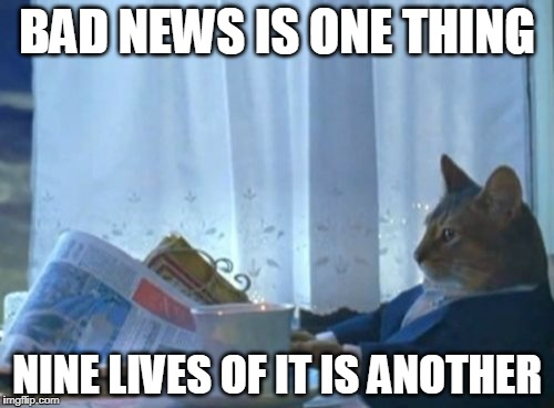 I Should Buy A Boat Cat Meme | BAD NEWS IS ONE THING NINE LIVES OF IT IS ANOTHER | image tagged in memes,i should buy a boat cat,news | made w/ Imgflip meme maker