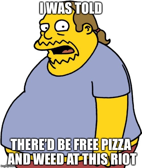 Comic Book Guy | I WAS TOLD THERE'D BE FREE PIZZA AND WEED AT THIS RIOT | image tagged in memes,comic book guy | made w/ Imgflip meme maker