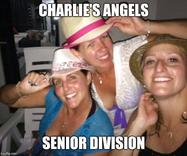 Milfs going wild | CHARLIE'S ANGELS SENIOR DIVISION | image tagged in milfs going wild | made w/ Imgflip meme maker