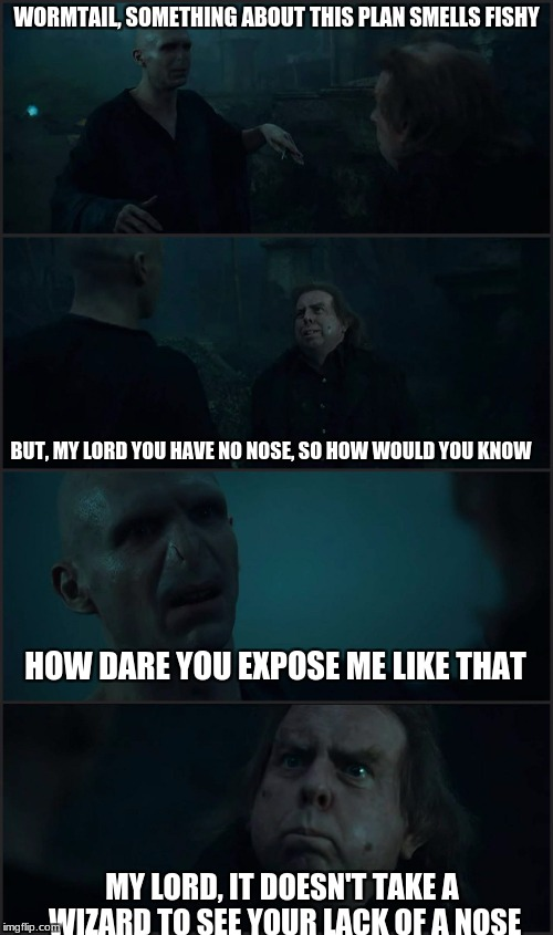 Exposing your bosses be like | WORMTAIL, SOMETHING ABOUT THIS PLAN SMELLS FISHY BUT, MY LORD YOU HAVE NO NOSE, SO HOW WOULD YOU KNOW HOW DARE YOU EXPOSE ME LIKE THAT MY LO | image tagged in voldemort  pettigrew,harry,voldemort,harry potter meme | made w/ Imgflip meme maker