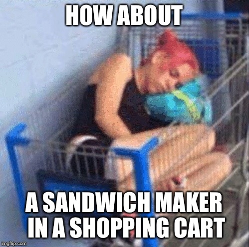 HOW ABOUT A SANDWICH MAKER IN A SHOPPING CART | made w/ Imgflip meme maker