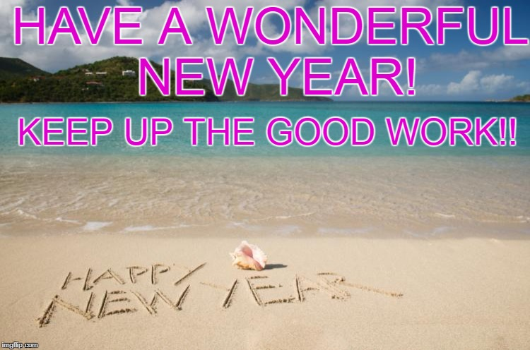 HAVE A WONDERFUL NEW YEAR! KEEP UP THE GOOD WORK!! | image tagged in new year 2016 | made w/ Imgflip meme maker