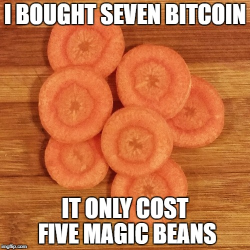 I BOUGHT SEVEN BITCOIN IT ONLY COST FIVE MAGIC BEANS | image tagged in whatcoin | made w/ Imgflip meme maker