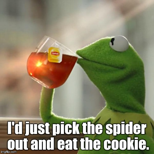 But Thats None Of My Business Meme | I'd just pick the spider out and eat the cookie. | image tagged in memes,but thats none of my business,kermit the frog | made w/ Imgflip meme maker