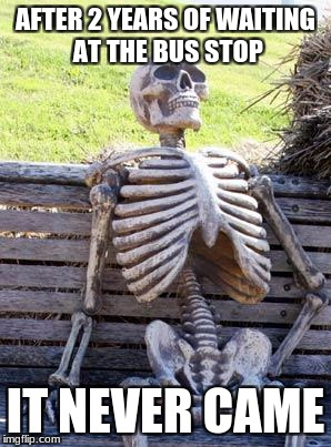 just to long | AFTER 2 YEARS OF WAITING AT THE BUS STOP IT NEVER CAME | image tagged in memes,waiting skeleton,bus stop | made w/ Imgflip meme maker
