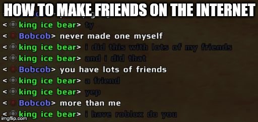 HOW TO MAKE FRIENDS ON THE INTERNET | image tagged in friends,video games,internet,roblox | made w/ Imgflip meme maker