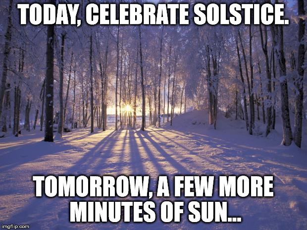 TODAY, CELEBRATE SOLSTICE. TOMORROW, A FEW MORE MINUTES OF SUN... | image tagged in winter solstice | made w/ Imgflip meme maker