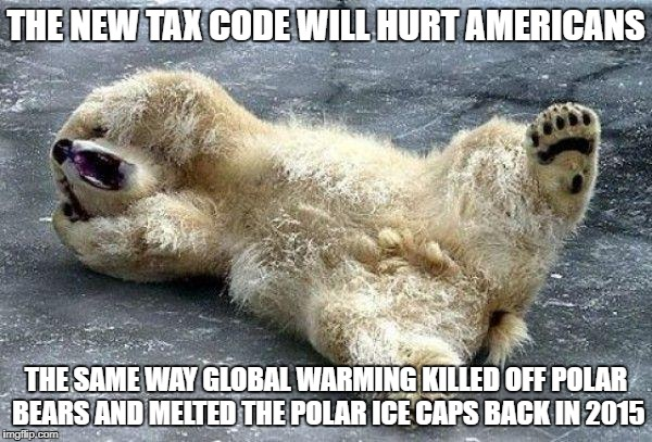 Oh nooo polar bear | THE NEW TAX CODE WILL HURT AMERICANS THE SAME WAY GLOBAL WARMING KILLED OFF POLAR BEARS AND MELTED THE POLAR ICE CAPS BACK IN 2015 | image tagged in oh nooo polar bear | made w/ Imgflip meme maker