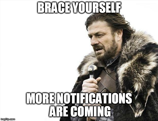Brace Yourselves X is Coming Meme | BRACE YOURSELF MORE NOTIFICATIONS ARE COMING | image tagged in memes,brace yourselves x is coming | made w/ Imgflip meme maker